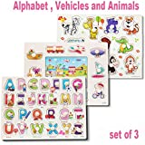 BigNoseDeer Classic Wooden Peg Puzzles Set of 3 Alphabet, Vehicles and Animals,for Toddlers, Preschool Age,Colorful Wood Knob Pieces,Simple Educational and Sensory Learning