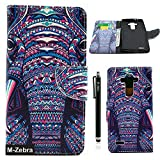 LG G4 Case, LG G4 Wallet Case, M-Zebra LG G4 Wallet Case [Wallet Function] Flip Cover Leather Case for LG G4, with Screen Protectors+Stylus+Cleaning Cloth (Elephant 1)