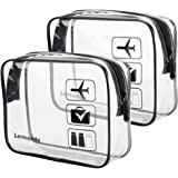 2pcs/pack Lermende Clear Toiletry Bag TSA Approved Travel Carry On Compliant Bag Quart Sized 3-1-1 Kit Luggage Pouch