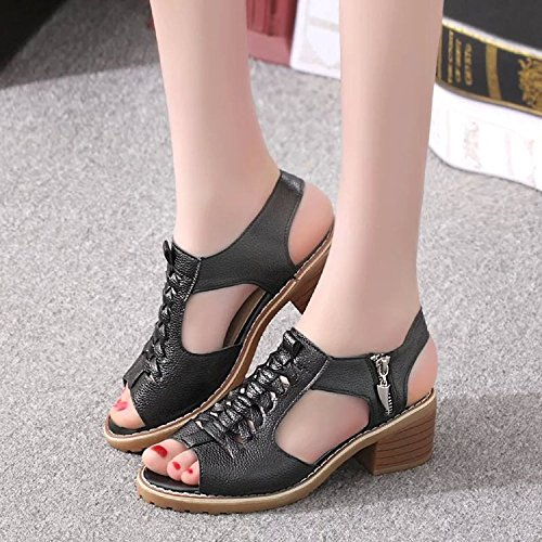 Poisson Yalanshop Viande 37 tanche Rtro Nerf Noir Tendron t Ct Plates Fond Taiwan Retro Femme Sauvage Chaussures Sandales vTzWUYvrq1