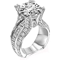 Haluoo Engagement Wedding Ring for Women 925 Sterling Silver Halo Ring Cubic Zirconia Promise Rings Cz Diamond Eternity…