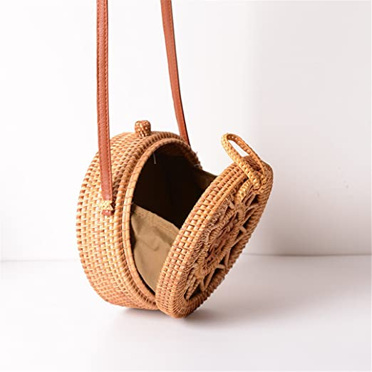 Amazon.com: Woven Rattan Bag Round Straw Shoulder Bag Small Beach Handbags Women Summer Hollow Handmade Messenger Crossbody Bags: Sports & Outdoors