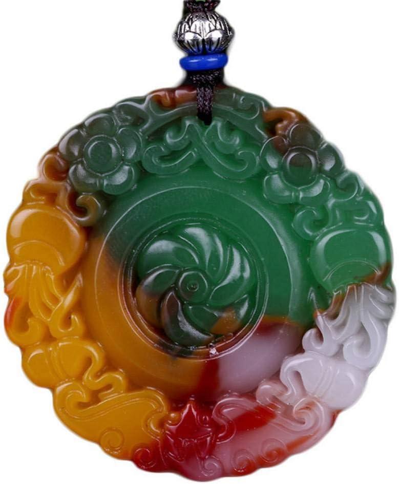 GAJSDJHN Jewelry Necklace Natural Gold Silk Jadeite Seven-Coloured Chicken Blood Stone Lucky Round Amulet Pendant Men and Women Pendant Necklace