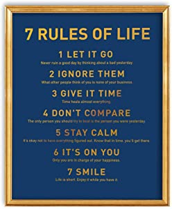 7 Rules of Life Inspiring Motivational Quote Gold Foil Wall Art Print - Great Gift for Home Living Room Bedroom Office Decor - 8 x 10 Unframed