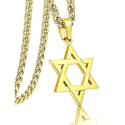 Axmerdal - Collar con colgante de estrella de David de acero ...
