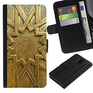 For Samsung Galaxy S5 Mini / Galaxy S5 Mini Duos / SM-G800 !!!NOT S5 REGULAR! ,S-type® Gold Emblem Metal Ancient Mystery Sun - Dibujo PU billetera de cuero Funda Case Caso de la piel de la bolsa protectora