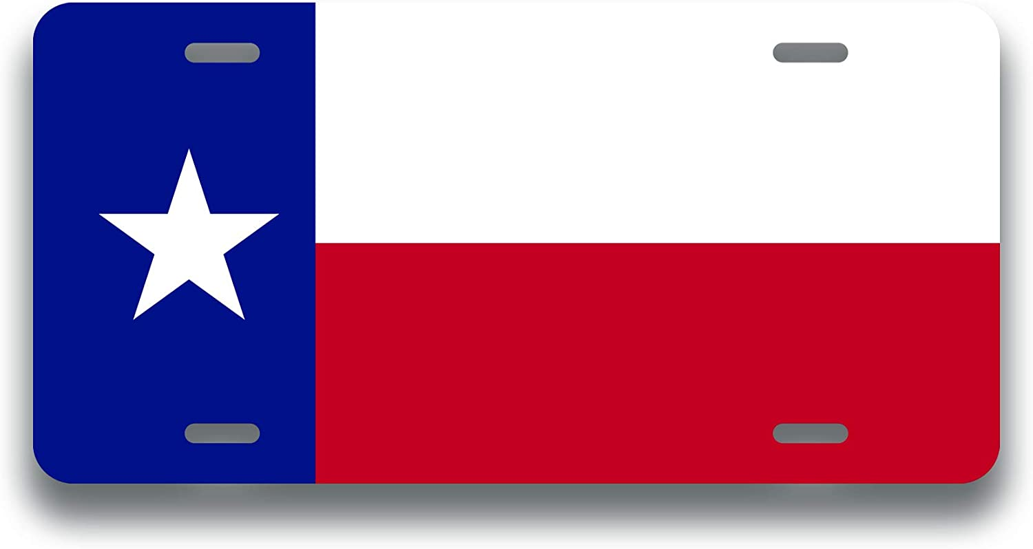 Decals Home Decor & More Texas State Flag License Plate Tag Vanity Novelty Metal | UV Printed Metal | 6-Inches by 12-Inches | Car Truck RV Trailer Wall Shop Man Cave | VLP068