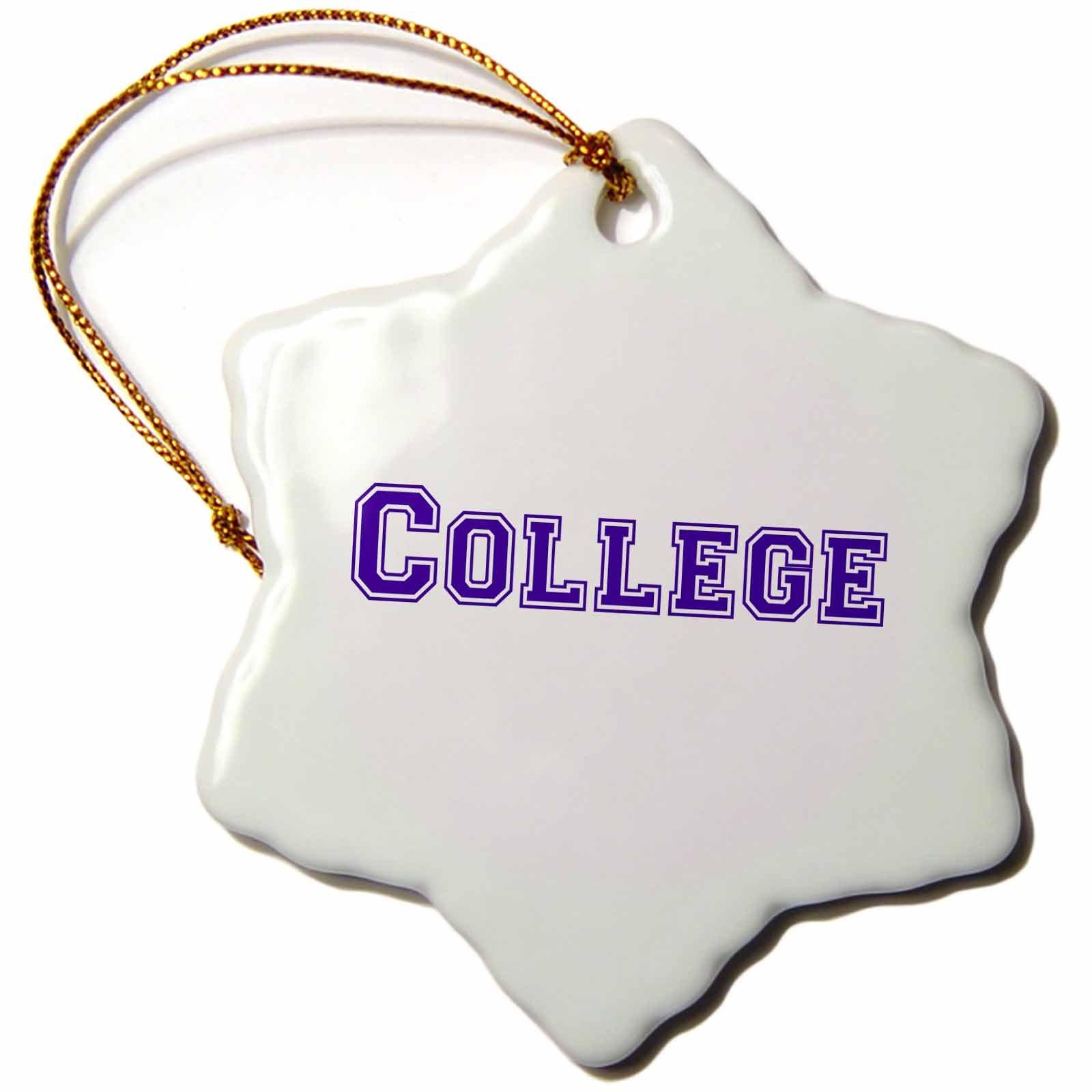 3dRose orn_151213_1 College Text Navy Blue-University Graduate School Fashion-Retro Preppy Font-Snowflake Ornament, 3-Inch, Porcelain