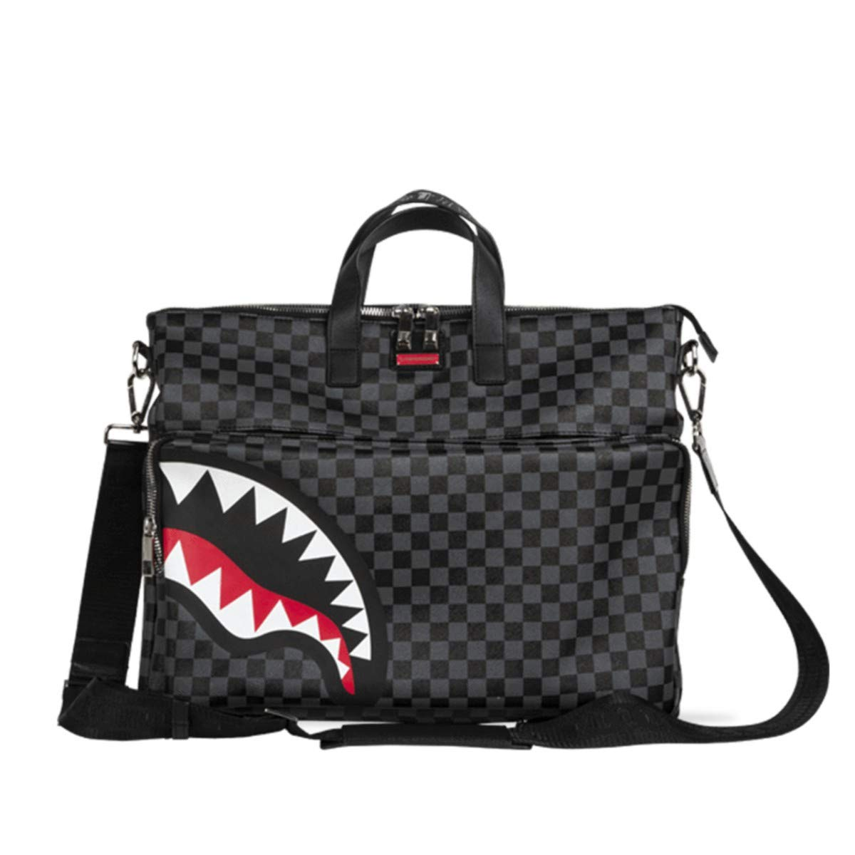 Sprayground Sharks in Paris Black Grey Checker Travel Festival Bag