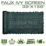 "ColourTree Artificial Hedges Faux Ivy Leaves Fence Privacy Screen Panels  Decorative Trellis - 39"" x 158"" - Mesh Backing - 3 Years Full Warranty"