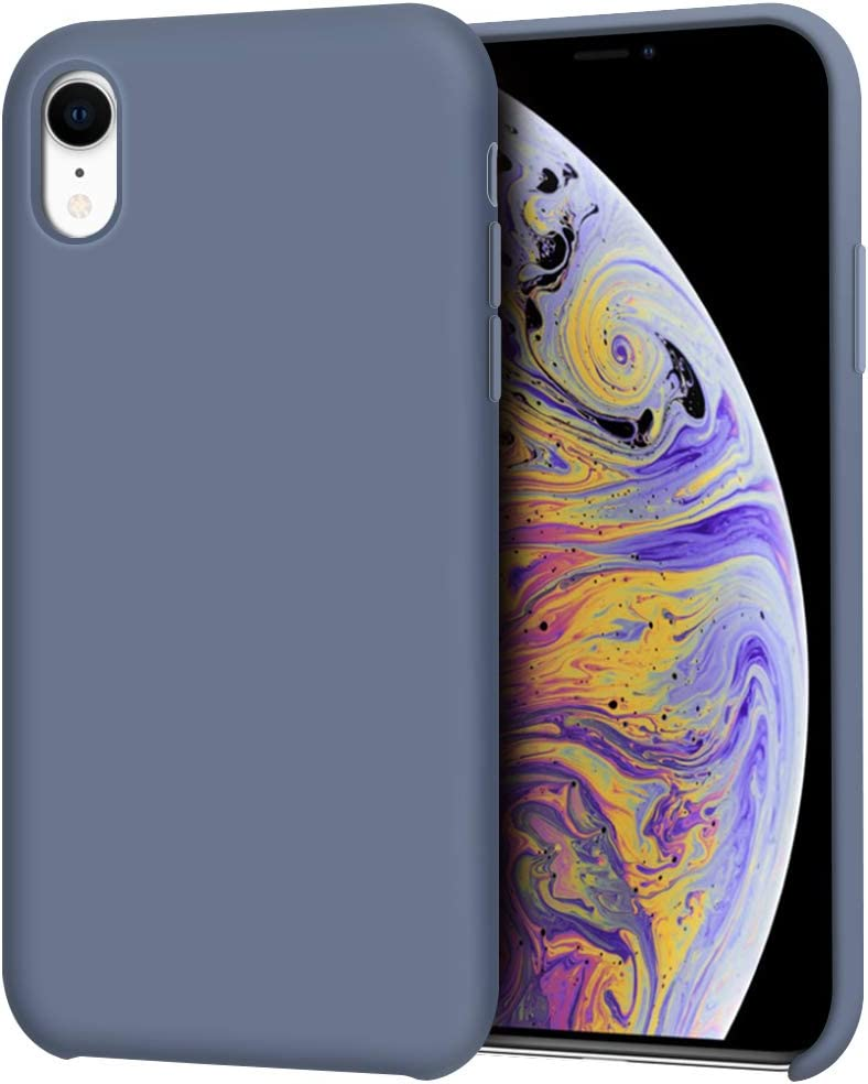 "Anuck iPhone XR Case, Anti-Slip Liquid Silicone Gel Rubber Bumper Case with Soft Microfiber Lining Cushion Slim Hard Shell Shockproof Protective Case Cover for Apple iPhone XR 6.1"" 2018 - Blue Gray"