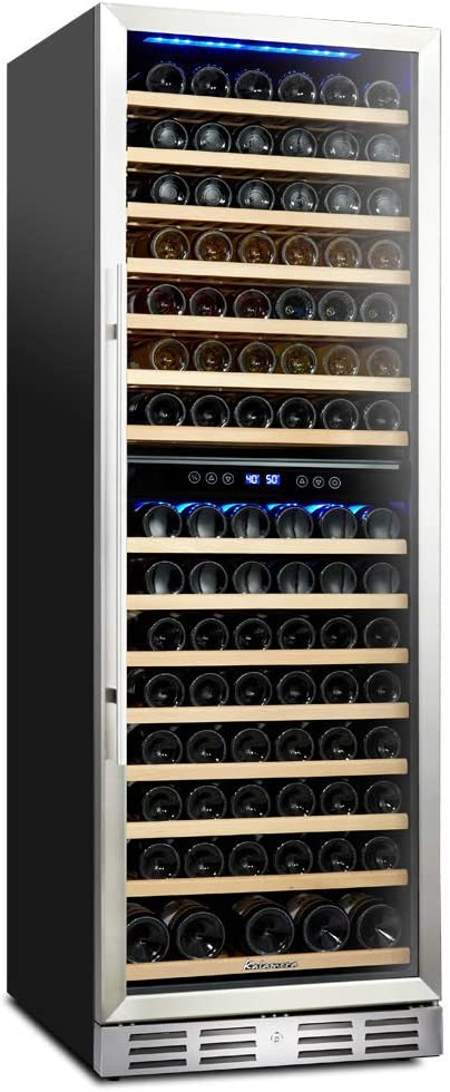 Kalamera 157 Bottle Freestanding Wine Refrigerator: Stainless Steel, triple-layered Tempered Glass Door, Electronic One-Touch Control with LED Display