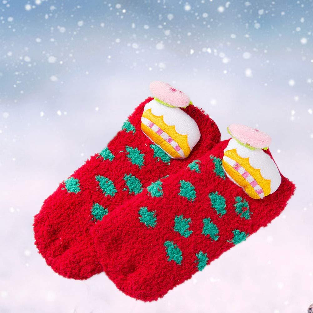 BESTOYARD Christmas Socks Coral Fleece Skid Resistance Socks Creative Socks for Baby Kid Infant Red Children Pattern, 1-5 Years Old