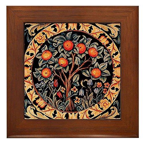 (CafePress - Orange Tree of Life by William Morris - Framed Tile, Decorative Tile Wall Hanging)