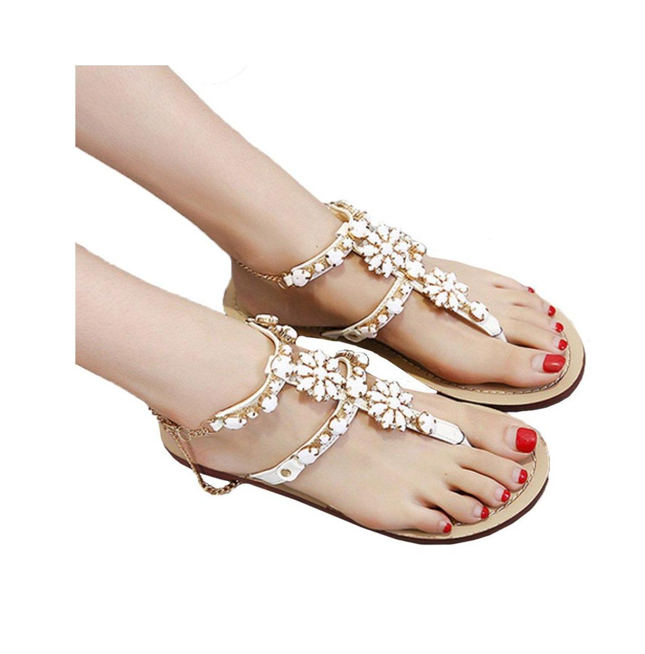 Sandales Été, YUYOUG pour Femmes plates B01E96YCEK d été T-sangle strass brillants chaîne sandales T-sangle chaussures confortables pour Filles ? B e49b80f - latesttechnology.space