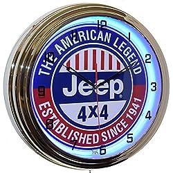 Jeep 4x4 The American Legend 16 Blue Neon Advertising Clock Man Cave Garage Decor