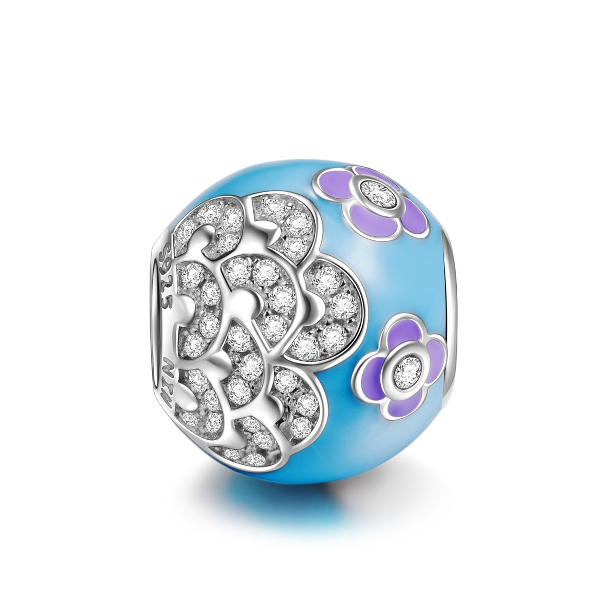NinaQueen Camellia 925 Sterling Silver Blue and Purple Zirconia Charms