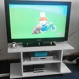 HOMCOM Mesa Armario móvil Mueble de TV Tele de Madera con Ruedas Color Blanco Nuevo: Amazon.es: Hogar