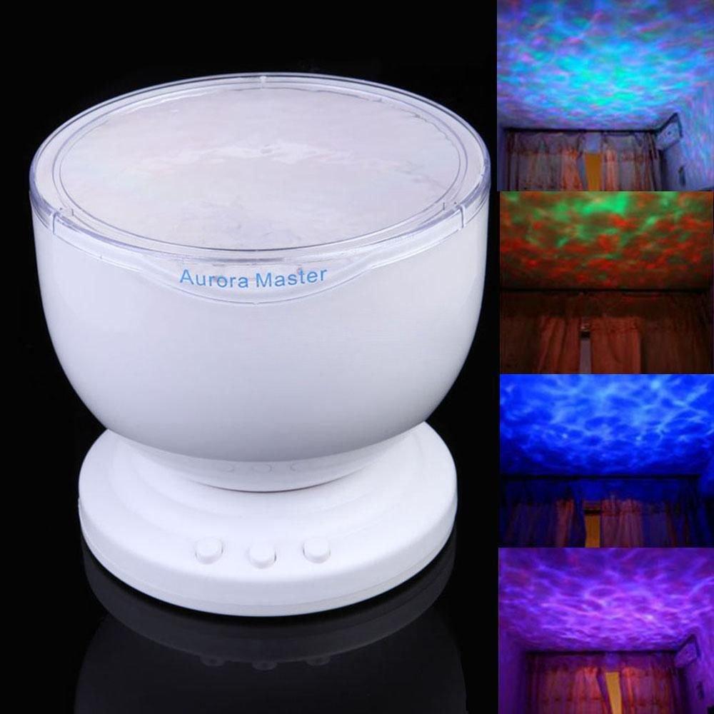 Lmeno MP3 Musik Lautsprecher Ozean Welle Projektor Laserlicht LED Farbwechsel Projektion Licht Lampe für Schlafzimmer Wohnzimmer Badezimmer Babyzimmer Kinderzimmer LDH2492