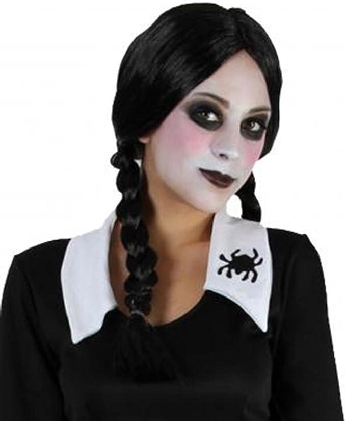 Ladies Black Plait Plaited Wig Addams Family Wednesday Halloween ...