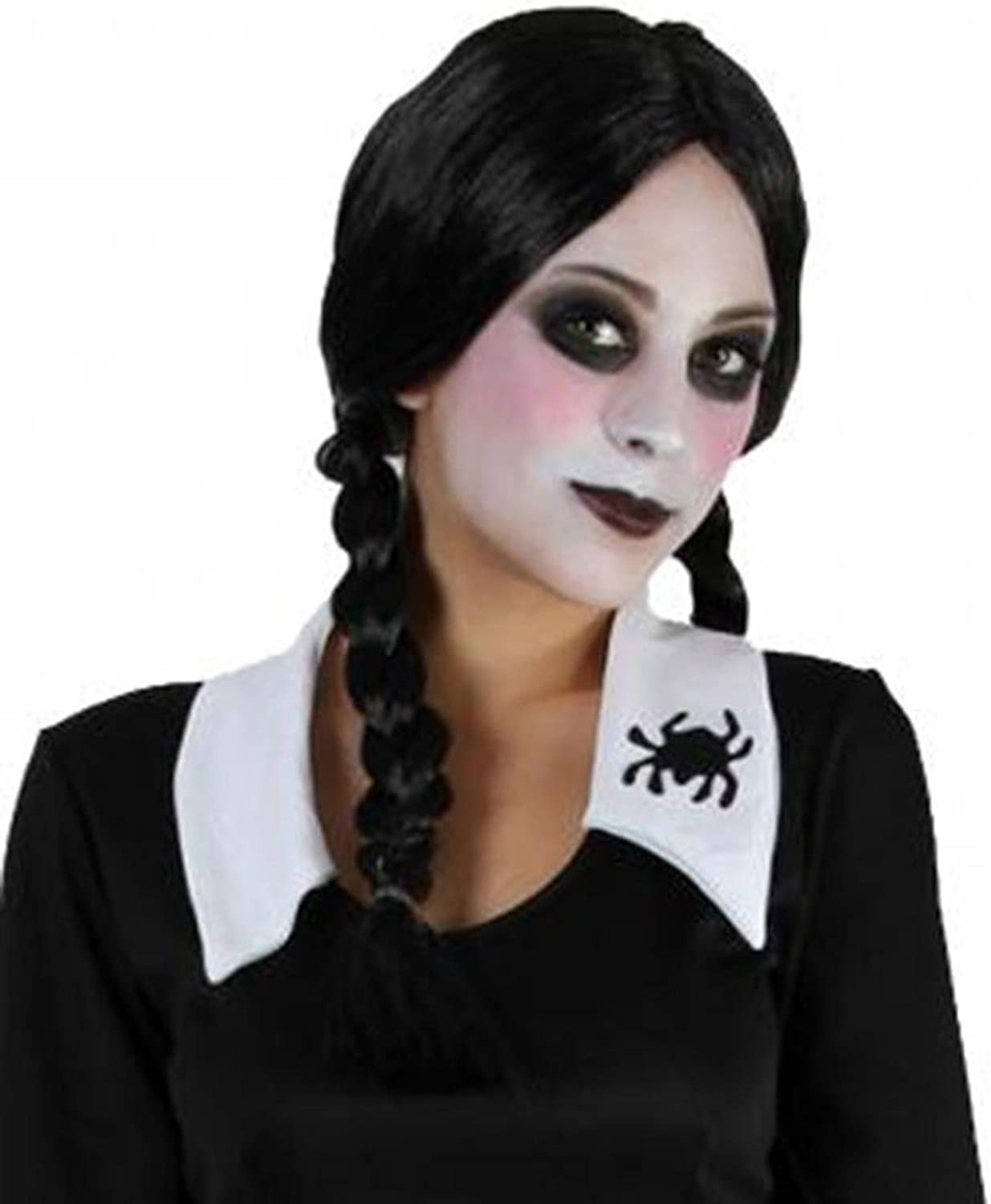 LADIES WOMENS BLACK PLAITS WIG /& WHITE PAINT HALLOWEEN FANCY DRESS COSTUME