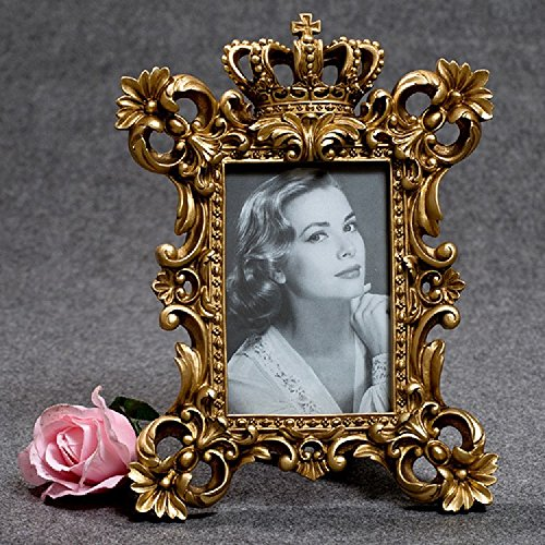 K&C Luxury Baroque Crown Embossed Patterns Picture Frame for Home Decoration Retro Golden