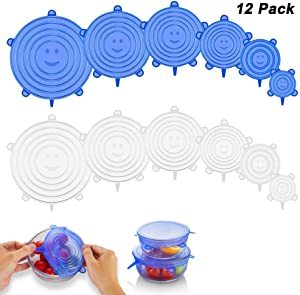 ZZF-LYA Stretchable Silicone Lid, 12-Pack in Various Sizes Silicone Stretch Lid for Bowl, Jar, Glassware, Food Saver Covers Safe in the dishwasher, microwave and freezer