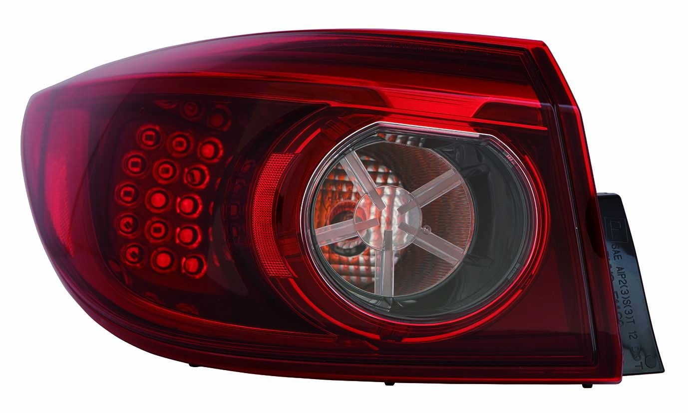 Depo 316-1941L-AF Tail Lamp Assembly Mazda 3 Sedan To 3//31//14 Led Type Smoke Outer Driver Side Nsf