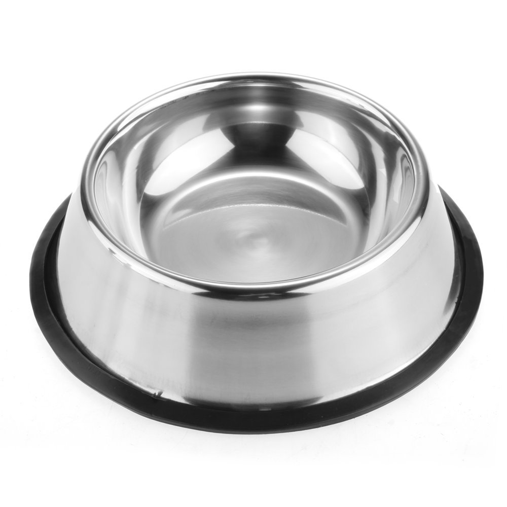 FTXJ Pets Dog/Cat Stainless Steel Feeding Food Dish Water Bowls Non Slip