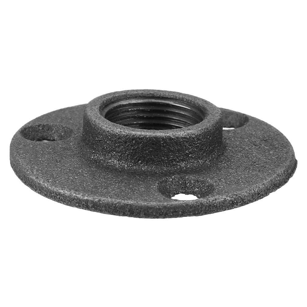 10 piezas de brida de piso de hierro maleable DN15 1//2// DN20 3//4 // DN25 1Brida de montaje en pared BSP Accesorios de adaptador de brida de piso roscado DN20 3//4/'/' Negro