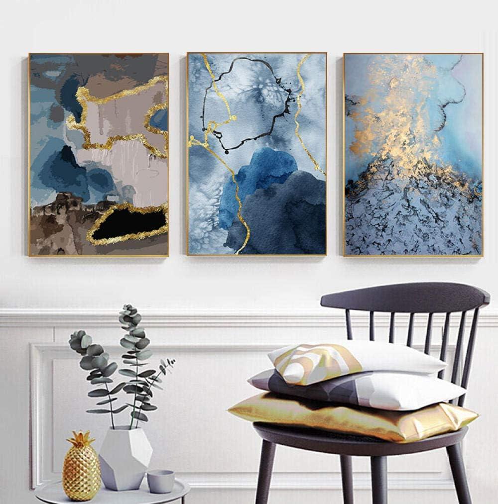 Pintura de lienzo azul dorado que fluye abstracto, carteles lujosos imprime cuadros de pared de arte para la decoración de la sala de estar 50x70cmx3 sin marco