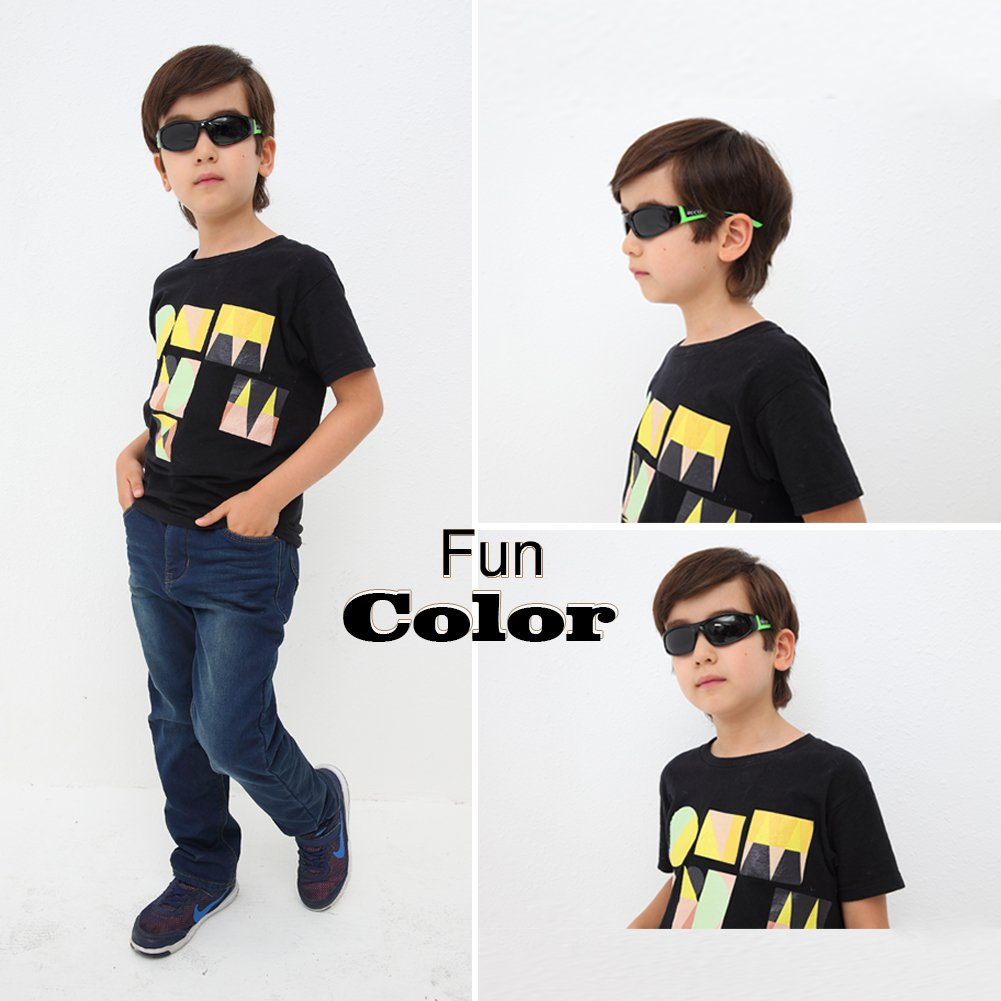Duco Kids Sports Style Polarized Sunglasses Rubber Flexible Frame for Children