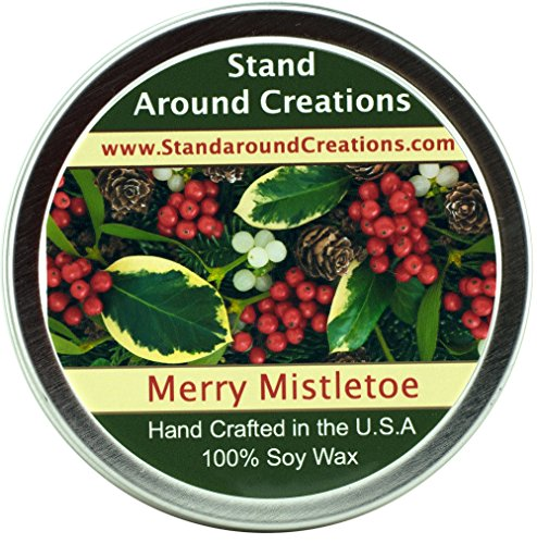 Premium 100% All Natural Soy Wax Aromatherapy Candle - 4oz Tin -Merry Mistletoe: A blend of citrus, blue spruce, and frosted cranberries create this perfect holiday scent! This fragrance is infused with Fir, Peppermint, and Cedar Leaf essential oils.
