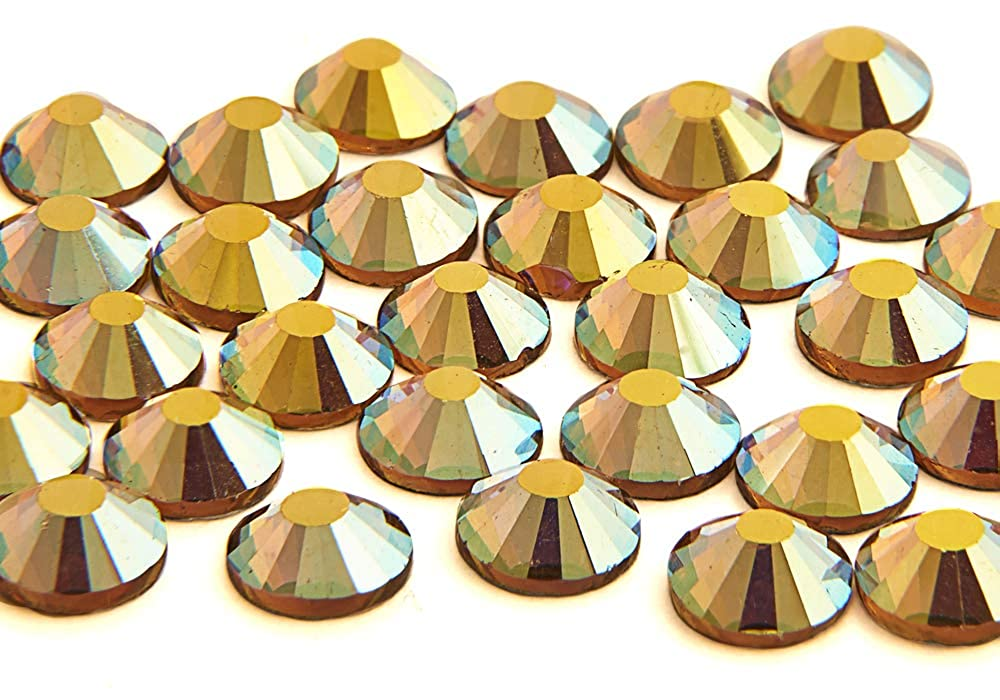 1440 x (Gold AB ss16 (4mm), 45 Colours 5 Sizes, EIMASS® 7767 DMC Hot Fix Glass Rhinestones, Flat back Gems, Diamante with Glue Backing, Pack of 1440 Crystals