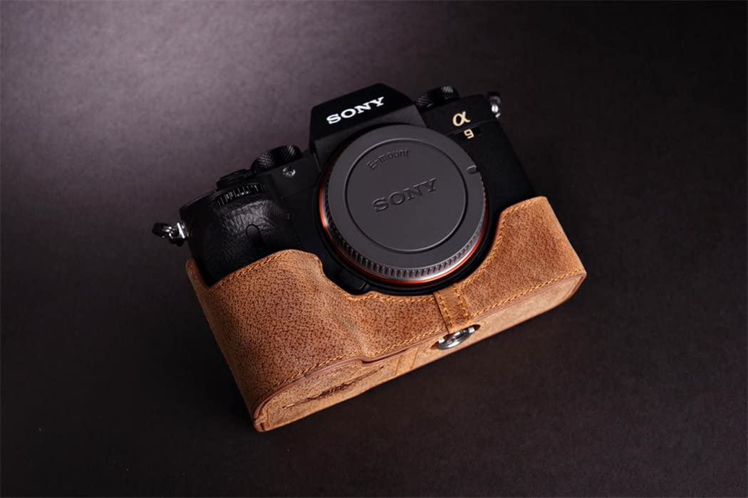 Rose Red Sony A9 Camera Case BolinUS Handmade Genuine Real Leather Half Camera Case Bag Cover for Sony Alpha A9 Camera Bottom Opening Version Hand Strap
