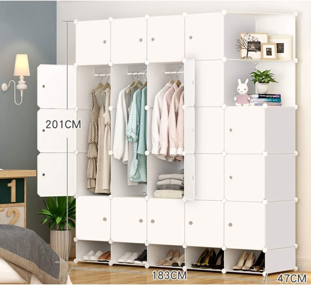 XHCP Portable Resin Wardrobe Armoire, Modular Storage Organizer Shelves Bookshelf Closet Armoire for Bedroom-White L183×w47×h201cm(72x19x79inch)