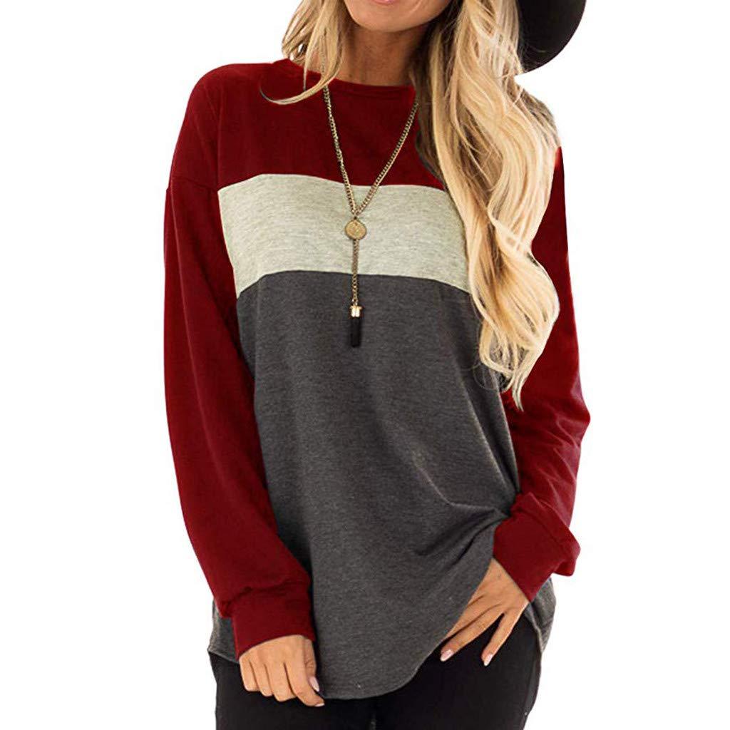Robemon_T Shirt Femme Manche Longues Colorblock Tunique Tees Casual Lâche Col Round Tops Blouse