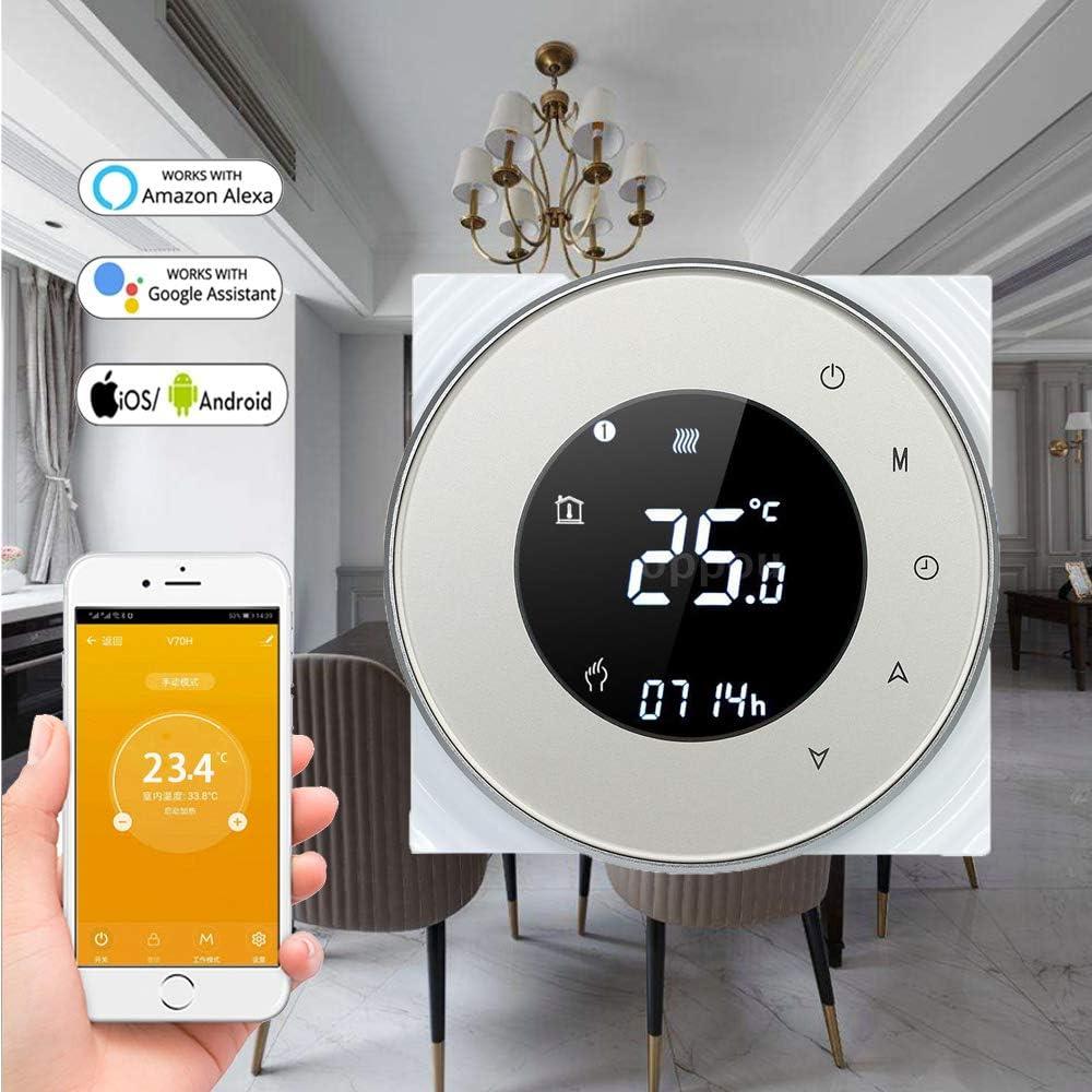 Termostato WiFi para caldera de gas, termostato inteligente para caldera de gas, pantalla LCD (VApantalla), Touch Button retroiluminado, programable con Alexa Google Home y teléfono APP (Oro): Amazon.es: Bricolaje y herramientas