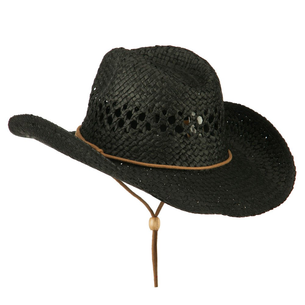 Adjustable Chin Strap Cowboy Hat - Black S-M at Amazon Men s Clothing store  a34f0d7a5efe