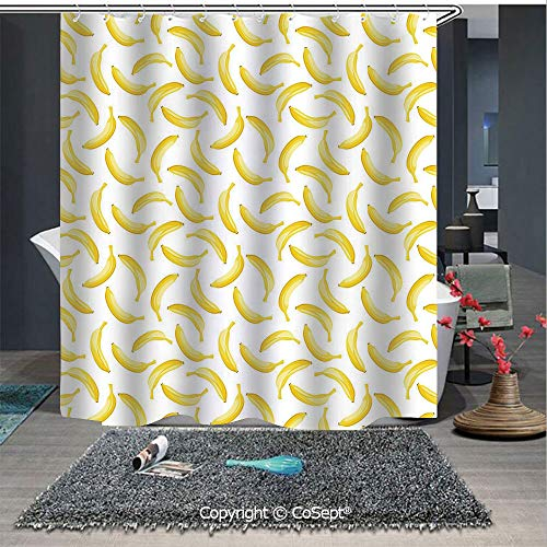 - SCOXIXI Bathroom Decoration Cozy Lovely Shower Curtain,Cartoon Style Bananas Pattern Exotic Fresh Ripe Fruit Healthy Tropical Decorative,Bathroom Decor Set with Hooks(70.86