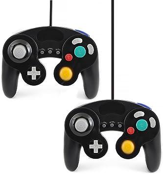 QUMOX 2 x Controlador Mando de Juego con Cable clásico Joypad Gamepad para Nintendo Gamecube gc y Wii, Negro (función Turbo Lenta): Amazon.es: Electrónica