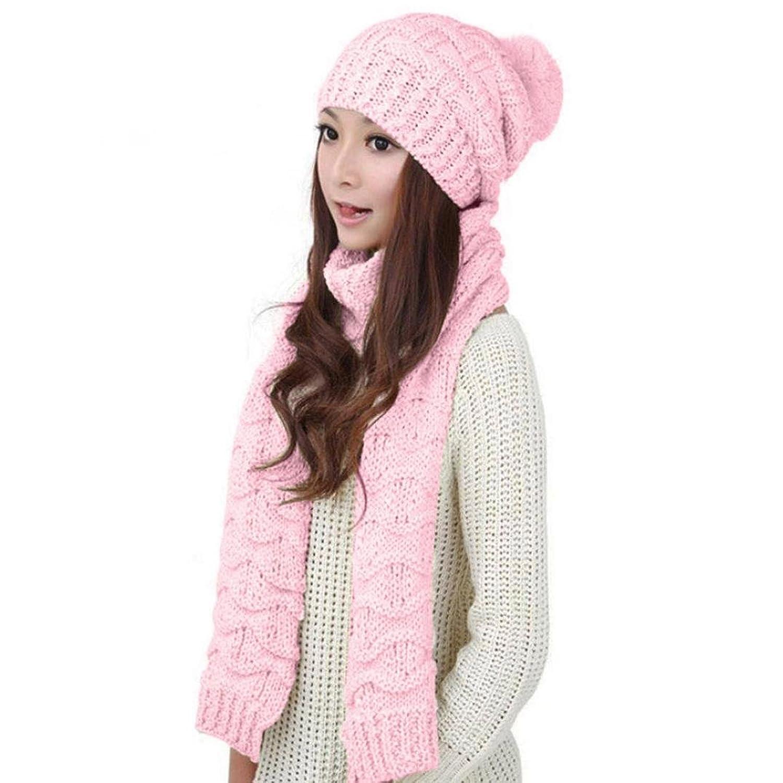 Tenworld Women's Warm Knit Scarf Shawl+Beanie Caps Hats 2pcs Set