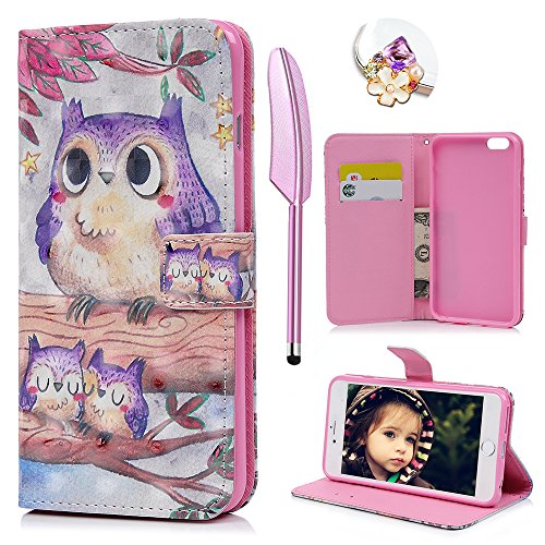 Price comparison product image MOLLYCOOCLE iPhone 6 Plus / iPhone 6S Plus Case, 3D Relief Cute Pattern Wallet Case PU Leather Soft TPU Inner Bumper Wrist Strap Protective Case Cover for iPhone 6 Plus, iPhone 6S Plus - Adorable Owl