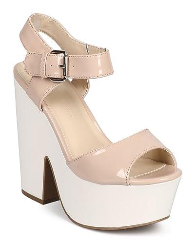 41119fe3c76 Wild Diva Women Patent Peep Toe Retro Chunky Heel Platform Sandal DH90 -  Natural (Size