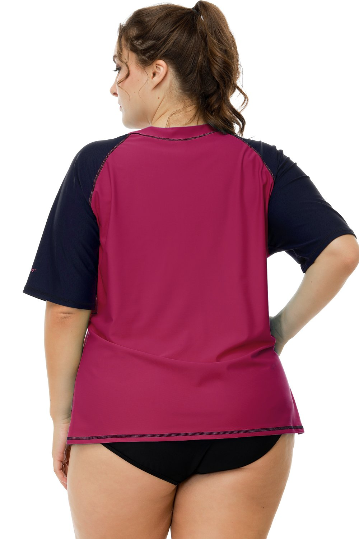 Sociala Womens Plus Size Swimwear Short Sleeve Rashguard Shirt Swim Top 3X by Sociala (Image #5)