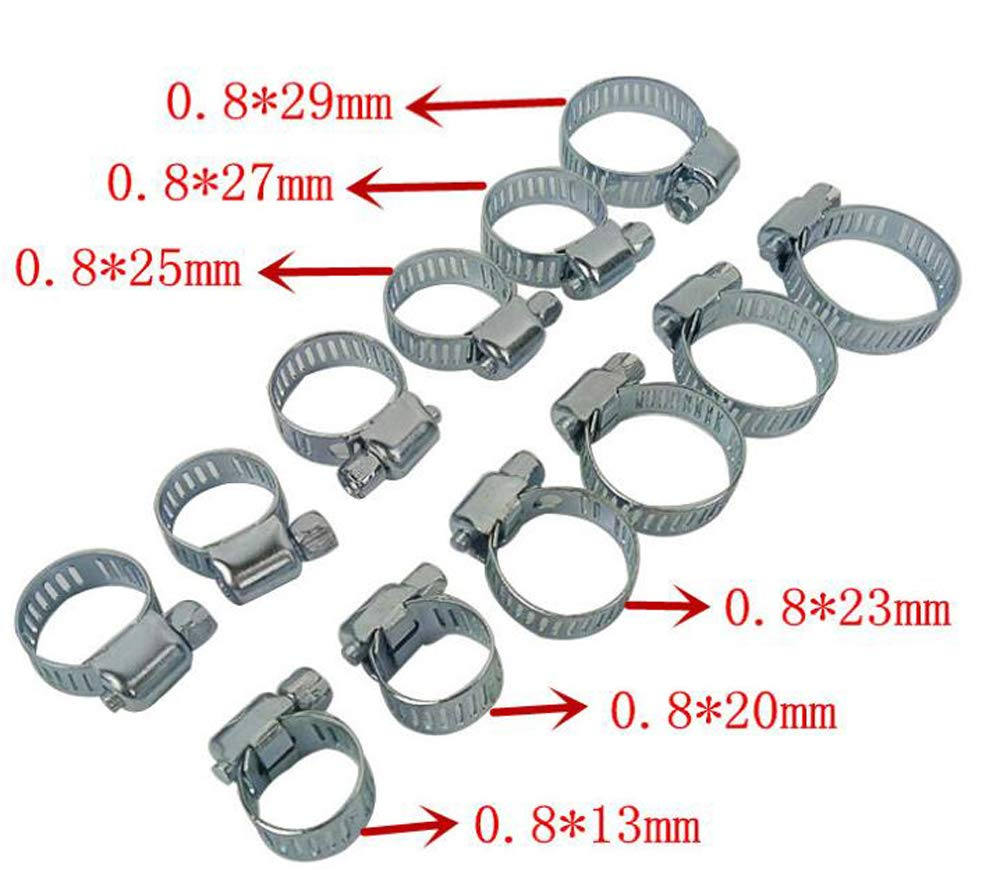 Otsale 10pcs Adjustable Stainless Steel Drive Hose Clamp Fuel Line Worm Clip,13-29mm Worm Gear Hose Clamp Fuel Line Clamp Assortment in 6 Size