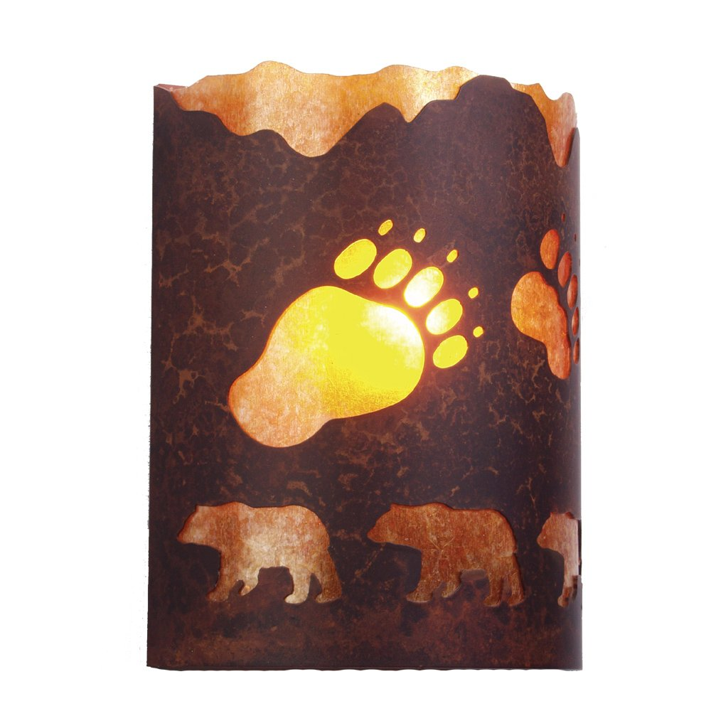 Architectural Bronze Finish Steel Partners Lighting 2378-11-AB A BEAR WAS HERE Timber Ridge Sconce with Amber Mica Lens