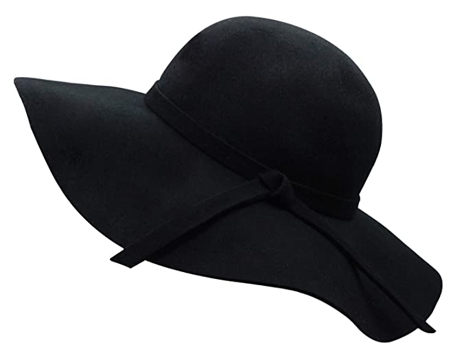 0895c520e11 Bienvenu Women's Wide Brim Wool Ribbon Band Floppy Hat Black at ...