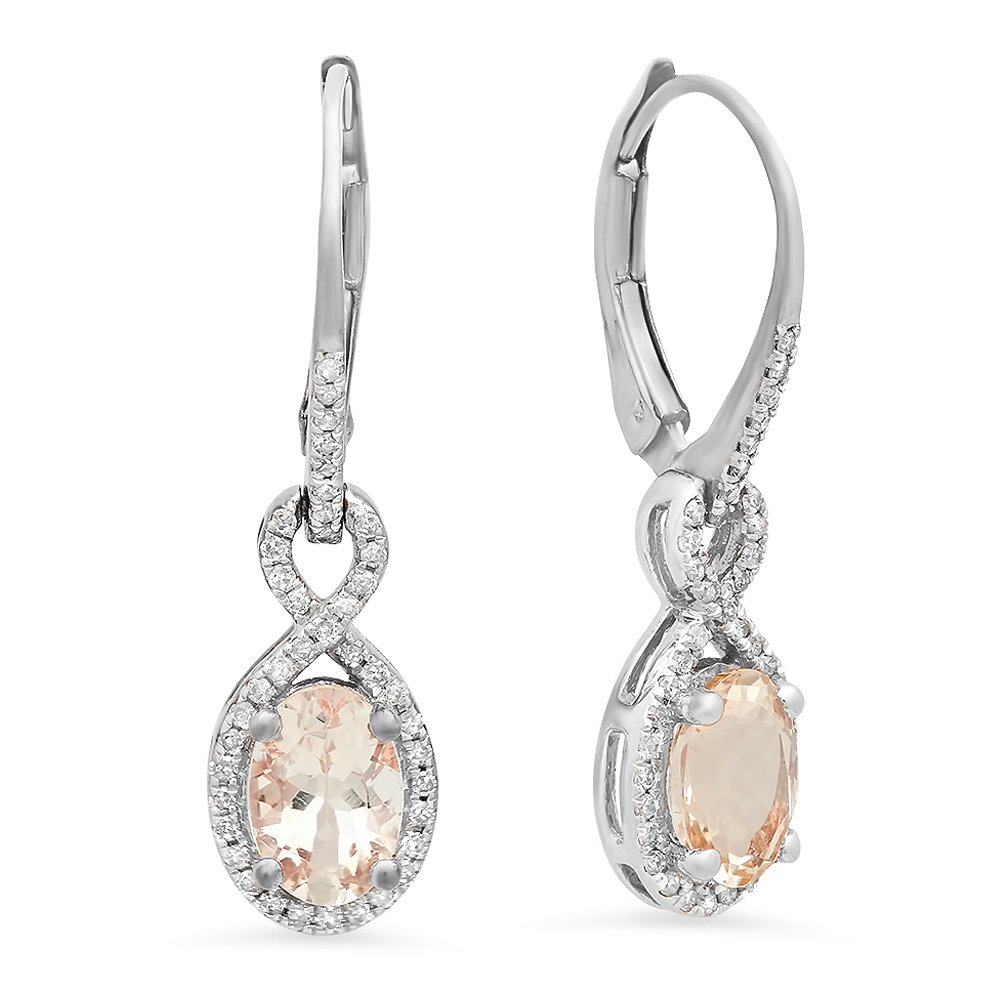 10K White Gold Oval Morganite & Round White Diamond Ladies Infinity Dangling Earrings