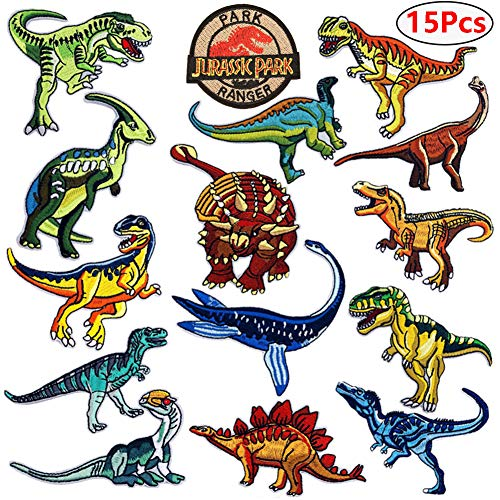 - Dinosaur Iron on Patches Jurassic Park Tactical Embroidered Applique Patches Badge Morale Decoration Sew on Patches for Jacket Jeans Backpacks Hat Clothing (15 Pcs)